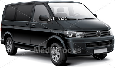 High Quality Vector Image Of Black German Passenger Van, Isolated On White Background. File Contains Gradients, Blends And Transparency. No Strokes. Easily Edit: File Is Divided Into Logical Layers An Stock Photo