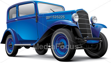 High Quality Vector Image Of Blue European Prewar Compact Automobile, Isolated On White Background. File Contains Gradients, Blends And Transparency. No Strokes. Easily Edit: File Is Divided Into Logi Stock Photo