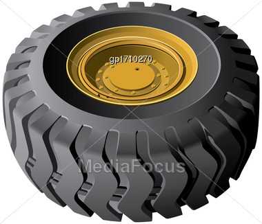 High Quality Vector Image Of Engineering Vehicles Wheel, Isolated On White Background. File Contains Gradients. No Blends, Transparency And Strokes Stock Photo
