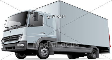 High Quality Vector Image Of European Light Commercial Truck, Isolated On White Background. File Contains Gradients, Blends And Transparency. No Strokes. Easily Edit: File Is Divided Into Logical Laye Stock Photo