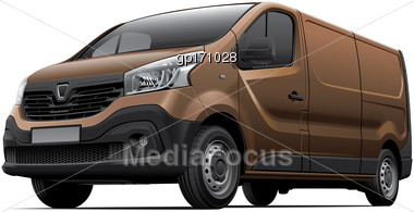 High Quality Vector Image Of European Light Commercial Vehicle, Isolated On White Background. File Contains Gradients, Blends And Transparency. No Strokes. Easily Edit: File Is Divided Into Logical La Stock Photo