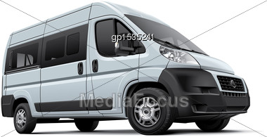 High Quality Vector Image Of European Minibus, Isolated On White Background. File Contains Gradients, Blends And Transparency. No Strokes. Easily Edit: File Is Divided Into Logical Layers And Groups Stock Photo