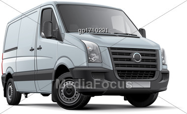 High Quality Vector Image Of European Panel Van, Isolated On White Background. File Contains Gradients, Blends And Transparency. No Strokes. Easily Edit: File Is Divided Into Logical Layers And Groups Stock Photo