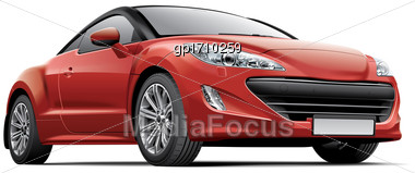 High Quality Vector Image Of French Compact Sports Coupe, Isolated On White Background. File Contains Gradients, Blends And Transparency. No Strokes. Easily Edit: File Is Divided Into Logical Layers A Stock Photo