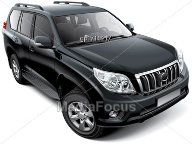 High Quality Vector Image Of Japanese Mid-size Luxury SUV, Isolated On White Background. File Contains Gradients, Blends And Transparency. No Strokes. Easily Edit: File Is Divided Into Logical Layers  Stock Photo