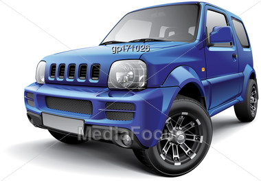 High Quality Vector Image Of Japanese Off-road Mini SUV, Isolated On White Background. File Contains Gradients, Blends And Transparency. No Strokes. Easily Edit: File Is Divided Into Logical Layers An Stock Photo