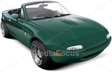 High Quality Vector Image Of Lightweight Two-seater Roadster With Open Roof, Isolated On White Background. File Contains Gradients, Blends And Transparency. No Strokes. Easily Edit: File Is Divided In Stock Photo