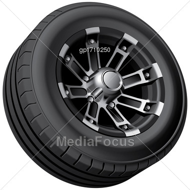 High Quality Vector Image Of Offroad Vehicles Wheel, Isolated On White Background. File Contains Gradients, Blends And Transparency. No Strokes Stock Photo