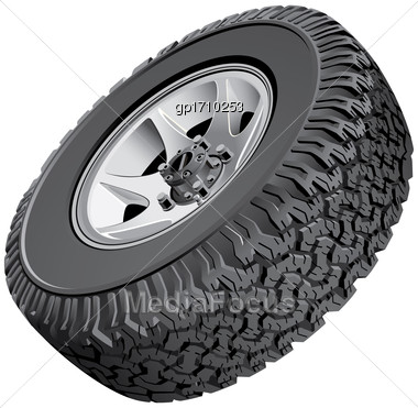 High Quality Vector Image Of Offroad Vehicles Wheel, Isolated On White Background. File Contains Gradients. No Blends, Transparency And Strokes Stock Photo