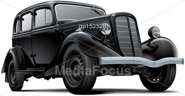 High Quality Vector Image Of Old Fashioned Soviet Passenger Automobile, Isolated On White Background. File Contains Gradients, Blends And Transparency. No Strokes. Easily Edit: File Is Divided Into Lo Stock Photo