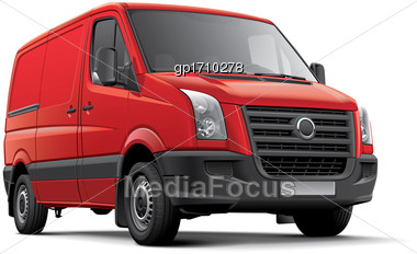High Quality Vector Image Of Red European Panel Van, Isolated On White Background. File Contains Gradients, Blends And Transparency. No Strokes. Easily Edit: File Is Divided Into Logical Layers And Gr Stock Photo