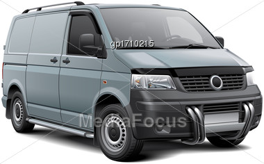 High Quality Vector Image Of Silver European Cargo Van With Roo Bar, Isolated On White Background. File Contains Gradients, Blends And Transparency. No Strokes. Easily Edit: File Is Divided Into Logic Stock Photo