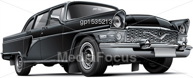High Quality Vector Image Of Soviet Luxury Car, Isolated On White Background. File Contains Gradients, Blends And Transparency. No Strokes. Easily Edit: File Is Divided Into Logical Layers And Groups. Stock Photo