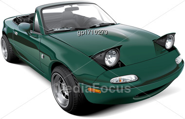 High Quality Vector Image Of Two-seater Roadster With Open Headlights, Isolated On White Background. File Contains Gradients, Blends And Transparency. No Strokes. Easily Edit: File Is Divided Into Log Stock Photo