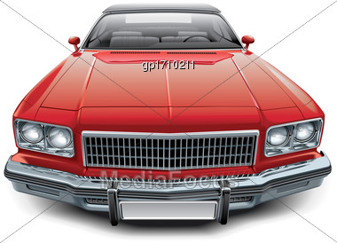 High Quality Vector Image Of Vintage American Coupe Convertible, Isolated On White Background. File Contains Gradients, Blends And Transparency. No Strokes. Easily Edit: File Is Divided Into Logical L Stock Photo