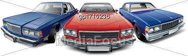 High Quality Vector Image Of Vintage American Automobiles - Red Coupe Convertible, Blue Hardtop Coupe And Dark Blue Full-size Luxury Sedan, Isolated On White Background. File Contains Gradients, Blend Stock Photo