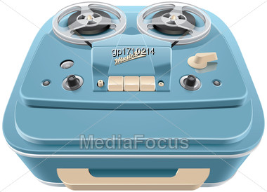 High Quality Vector Image Of Vintage Reel-to-reel Audio Tape Recorder, Isolated On White Background. File Contains Gradients, Blends And Transparency. No Strokes Stock Photo