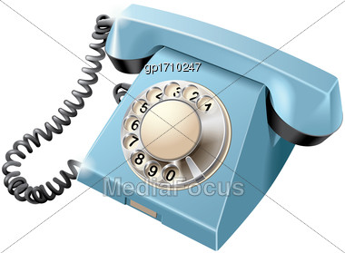 High Quality Vector Image Of Vintage Rotary Dial Telephone, Isolated On White Background. File Contains Gradients, Blends And Transparency. No Strokes Stock Photo
