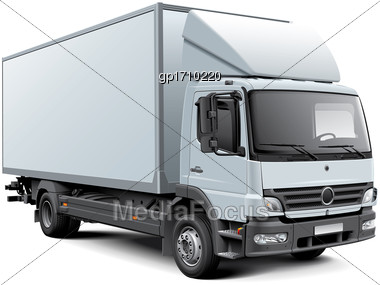 High Quality Vector Image Of White European Box Truck, Isolated On White Background. File Contains Gradients, Blends And Transparency. No Strokes. Easily Edit: File Is Divided Into Logical Layers And  Stock Photo