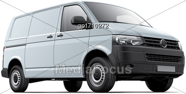 High Quality Vector Image Of White European Cargo Van, Isolated On White Background. File Contains Gradients, Blends And Transparency. No Strokes. Easily Edit: File Is Divided Into Logical Layers And  Stock Photo