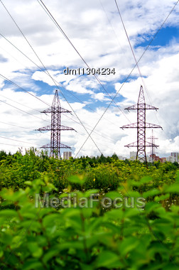 High Voltage AC Transmission Towers. Stock Photo