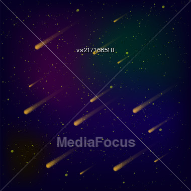 Hight Sky Background. Shooting Stars On Blue Space. Meteor Shower. Meteors Falling On Milky Way Background Stock Photo