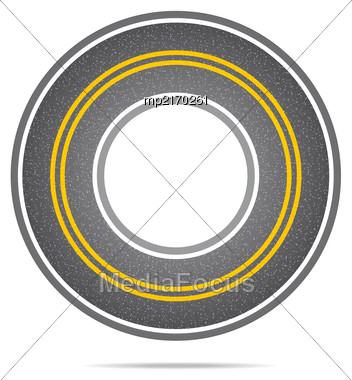 Highway In A Circle With Asphalt Texture With Noise. Vector Illustration Stock Photo