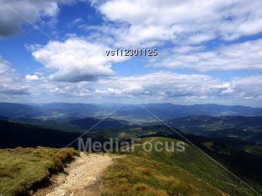 Hiking Trail In Carpathian Mountains. Ukraine Stock Photo