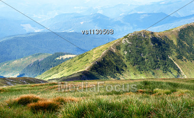Hiking Trail In Carpathian Mountains. Ukraine. Stock Photo