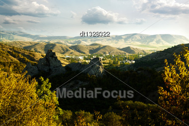 Hilly Mountains Under Blue Skies, Autumnal Backgrounds Stock Photo