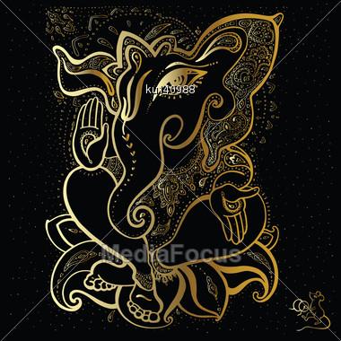 Hindu God Ganesha. Vector Hand Drawn Illustration Stock Photo
