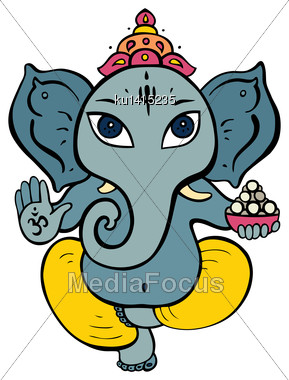 Hindu God Ganesha. Vector Hand Drawn Illustration Stock Photo