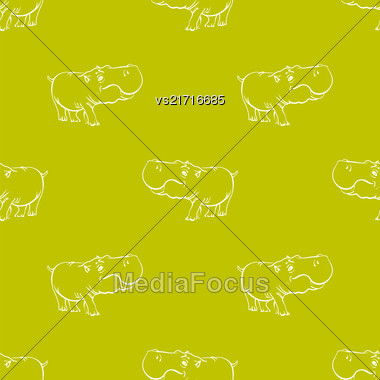 Hippopotamus Seamless Drawing Pattern On Yellow. Animal Cartoon Background Stock Photo