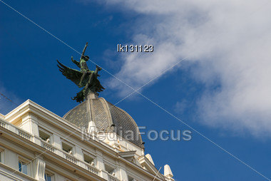 Historic Buildings With Lace Fronts Of City Madrid Stock Photo