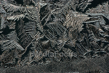 Hoarfrost On Glass, Texture Of Ice In Thee Cold Winter Stock Photo