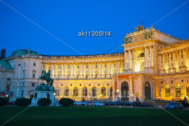 Hofburg Palace In Vienna, Austria At Night Time Stock Photo