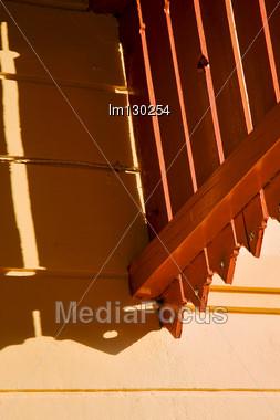 Hole And Reflex For A Terrace Yellow Wood Colonia Del Sacramento Uruguay Stock Photo