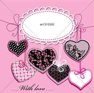 Holiday Background With Black And Pink Ornamental Hearts And Oval Frame For Your Text Stock Photo