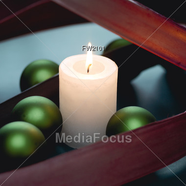 Holiday Background with Candle Stock Photo