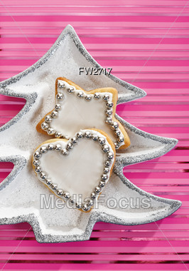 Holiday Cookies In Christmas Tree Shaped Dish Stock Photo