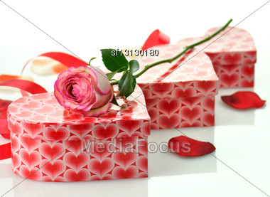 Holiday Gifts With Rose Stock Photo