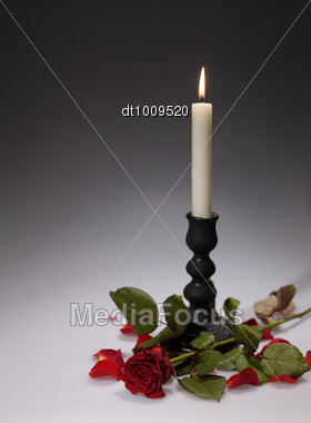 Holiday's Still-life With Candle Stock Photo
