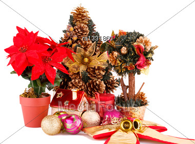 Holly Berry Flowers, Christmas Tree And Decoration Isolated On White Background Stock Photo