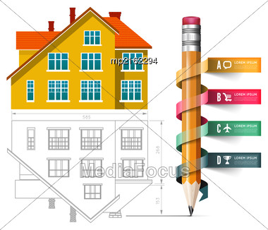 Home Icon And Drawing With A Pencil. Vector Infographics For Real Estate And Construction Stock Photo