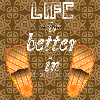 Home Slippers Poster Ornamental Background. Grange Positive Quote. Sweet Home Stock Photo