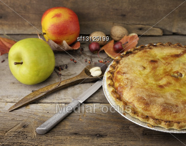 Homemade Apple Pie On A Wooden Background Stock Photo