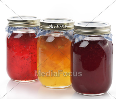 Homemade Marmalade And Jam In The Glass Jars Stock Photo