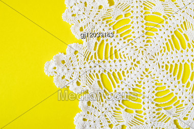 Homemade White Decorative Napkin On Yellow Background Stock Photo