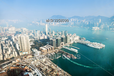 HONG KONG, CHINA - FEBRUARY 21: Panorama View To Hong Kong From Sky100 On February, 21, 2013, Hong Kong, China. Sky100 Is A Observation Deck On The 100th Floor Of The International Commerce Centre Stock Photo