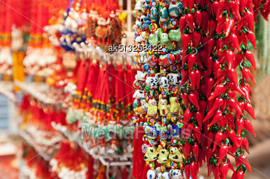 HONG KONG, CHINA - MARCH 19: Fortunate Pendant Market In Hong Kong On March, 19, 2013, Hong Kong, China Stock Photo